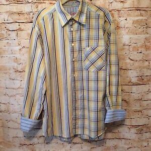 Robert-Graham-LS-Button-Up-Shirt-Stripes-amp-Plaids-Flip-Cuff-Mens-XXL-Chest-50-034