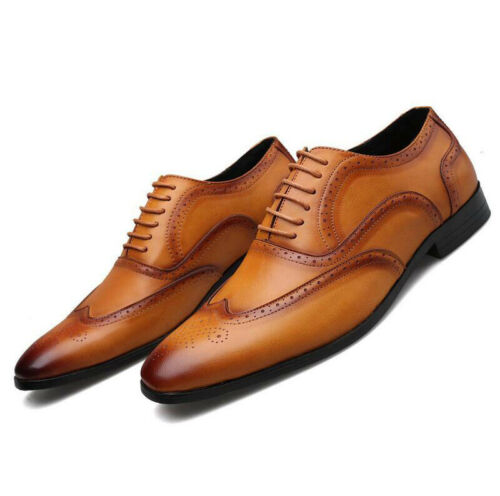 Mens Leather Dress Formal Office Oxfords Wing Tip Brogues Lace Up Shoes Wedding