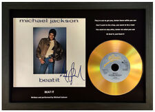 MICHAEL JACKSON - BEAT IT - SIGNED GOLD DISC DISPLAY
