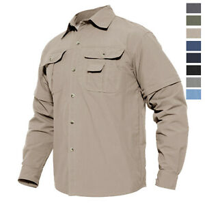 Men-039-s-Military-Shirt-Removable-Sleeves-Quick-Drying-Casual-Shirt-Hiking-Fishing