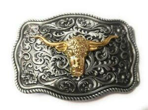 WESTERN-STEER-Cowboy-Rodeo-Style-Belt-Buckle-Buck-gold-and-pewter-color