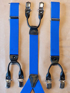 Rollzug Hosenträger 6 Clip 3,5cm in Schwarz 120cm Top Qualität NEU