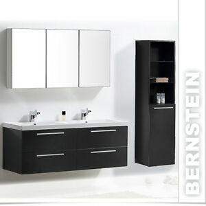badm bel set doppelwaschbecken badezimmerm bel spiegel lackiert 120cm ebay. Black Bedroom Furniture Sets. Home Design Ideas