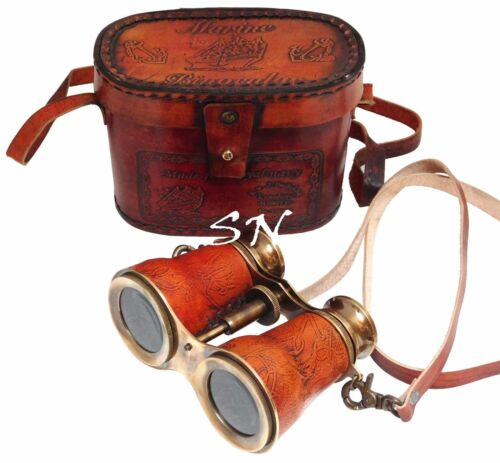 Nautical Brass Royal Navy Binocular Brass Antique With Leather Case Nautical
