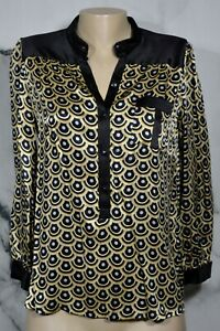 LACEY-PARKER-Black-Gold-Silver-Patterned-Silk-Top-Wrist-Length-Sleeves-Unlined