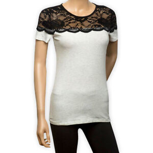 Womens Ladies Casual Jersey Top Short Sleeve Lace Yoke Scoop Neck T-Shirt Tee