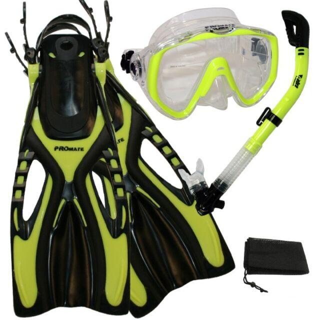 Snorkeling Diving Single Window Mask Dry Snorkel Fins Flippers Gear Package Set