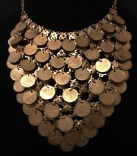 Vintage Estate Egyptian Revival Embossed Coin Bib Necklace Brass Tone