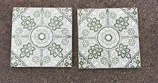 2 Original Antigua Minton Stoke sobre Trent Verde y Blanco Azulejos De 15cm X 15cm