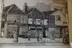 ANTIQUE-1915-ETCHING-039-STREET-PUB-THE-OLD-RED-LION-ROAD-SCENE-SIGNED