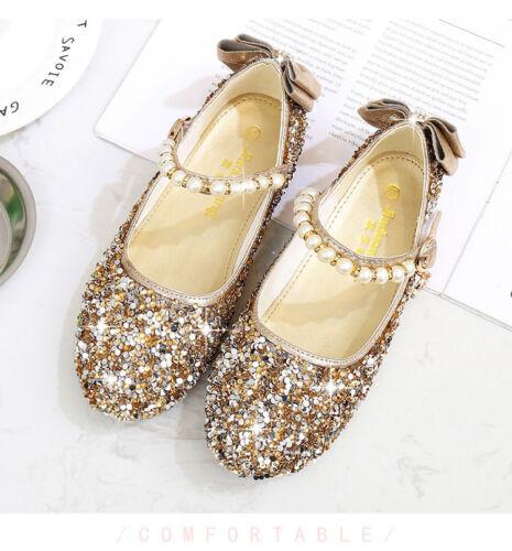 Mädchen Kinder Hochzeit Pailletten Brautjungfer Abend Party Einzel Schuhe