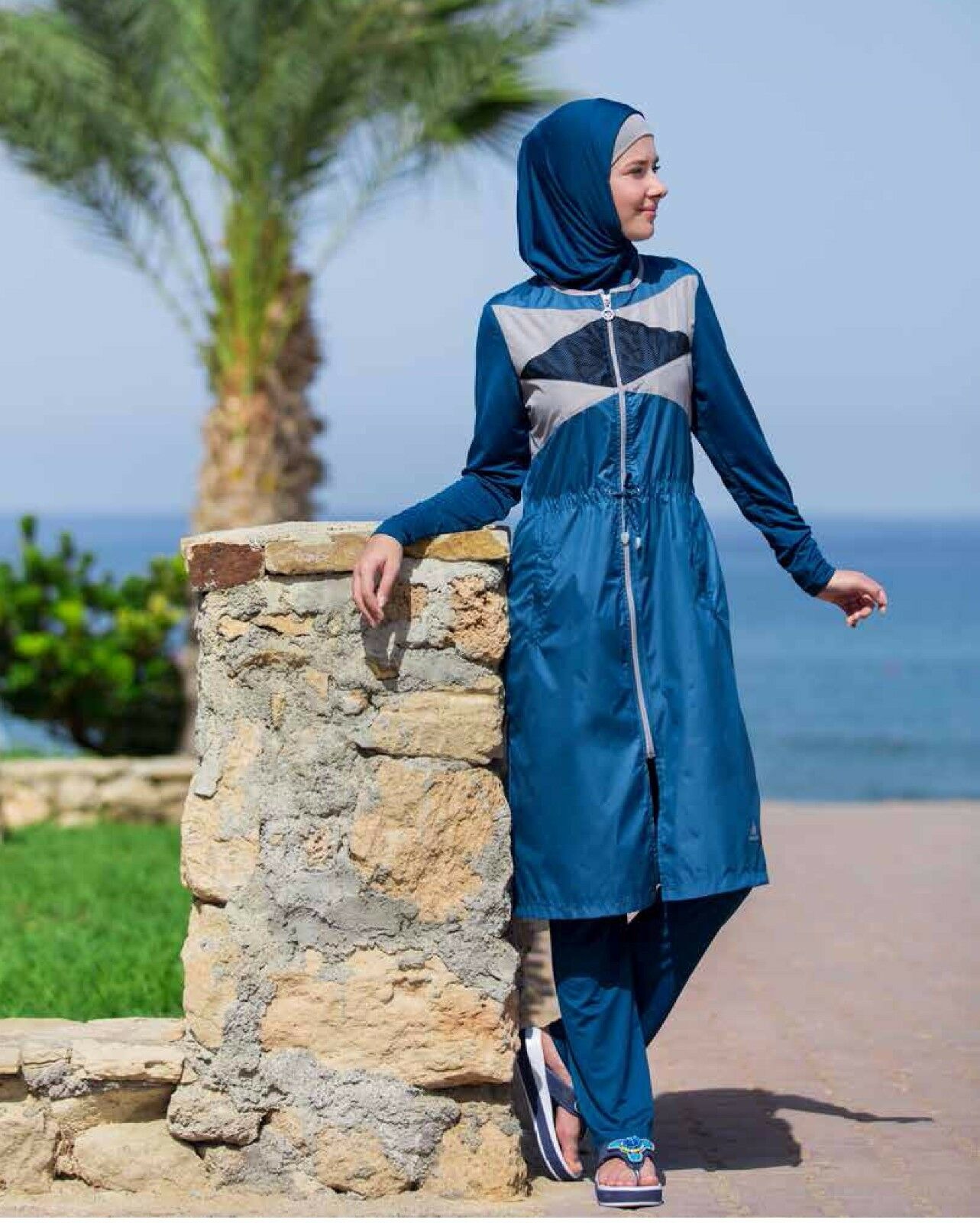Adabkini NEVRA, Womens modest swimsuit, burqini, Full covered with head cover