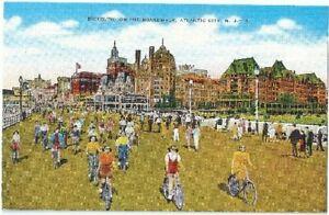 Bicycling-on-the-Boardwalk-Atlantic-City-NJ-Vintage-Postcard-New-Jersey-Linen