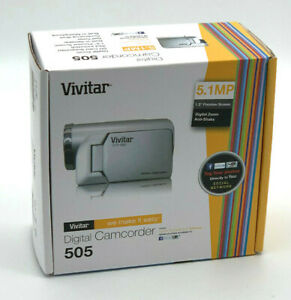 NIB-Silver-Vivitar-505-5-1-MP-Digital-Camcorder-Digital-Zoom-Speaker-Brand-New