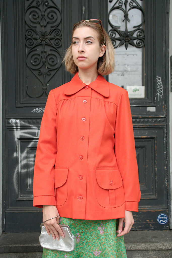 Elson of Denmark Damen Mantel Orange 70s TRUE VINTAGE Orange woman coat 70s