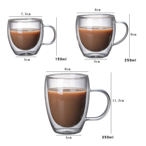 Double Layers Wall Glass Coffee Mug Heat Resistant Milk Coffee Cup With Handle