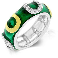 Silver Rhodium Plated Green Enamel Ring Band Cubic Zirconia Size 7 8 9 10 Usa