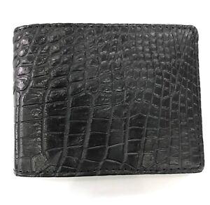Black-Genuine-Crocodile-Alligator-Skin-Leather-Men-039-s-Credit-Card-Holder-Wallet
