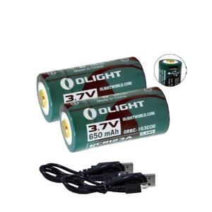 Olight-650mAh-3-7V-Li-Ion-USB-Rechargeable-RCR123A-Batteries-w-Cable-2-Pack
