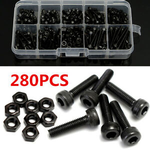 280x-Grade-12-9-Alloy-Steel-M3-Hex-Socket-Cap-Head-Screws-Nuts-Kit-Black-4-25mm