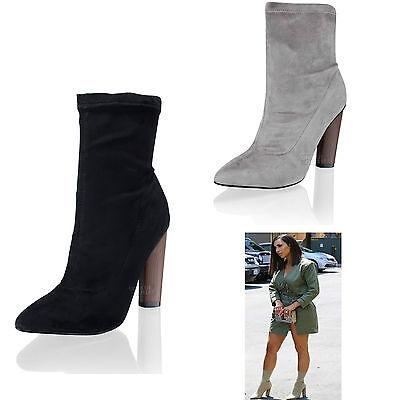 Damen hoher Blockabsatz dehnbar Lycra Mode Stiefeletten Schuhe Größe