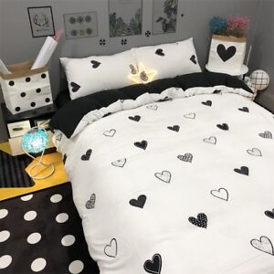 Heart-Printing-Black-Bedding-Set-Duvet-Quilt-Cover-Sheet-Pillow-Case-Four-Piece