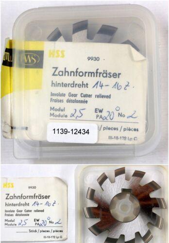 2 für 14-16 Zähne Zahnformfräser Modulfräser Modul 2,5 EW 20° BP I Fräser-Nr