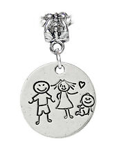 Family of 3 Two Kids Baby Boy Girl Mom Dad Charm Dangle for Euro Bead Bracelets