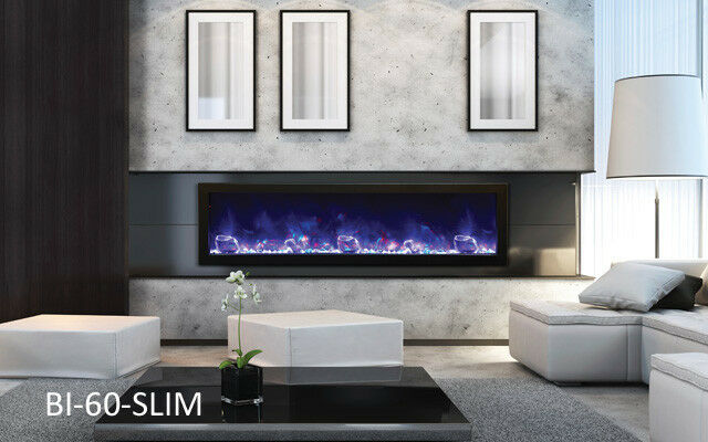 Amantii Bi-60-Slim Panorama Series Electric Fireplace Built In W/ Heat Fire&Ice