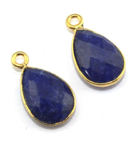 Pair Of Dyed Ruby Lapis Agate Stone 24k Gold Plated Connector DIY Making Jewelry