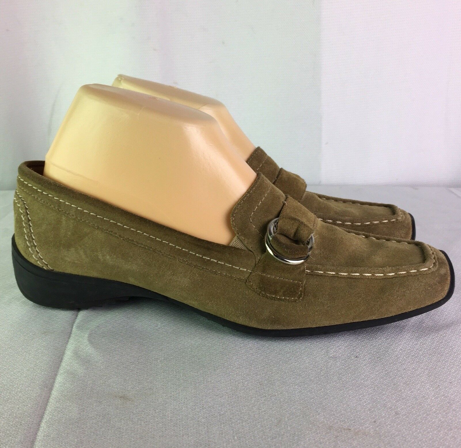 PAUL GREEN Women's Olive Green,Suede,Slip On. Ring Buckled,Driver Loafers SZ 5.5