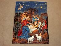 Christmas Nativity Home Made Wall Hanging Quilt Usa 26 X 34.5 Gold Embroidery