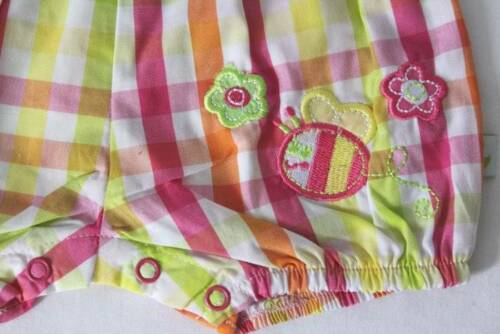 NEW Baby Girls 2 pc Outfit Size 0-3 Mos Bodysuit Romper Headband Set Plaid Bee