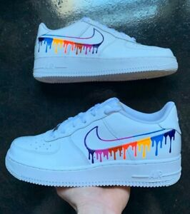 Details about Nike Air Force 1 Low Custom Rainbow Drip Size 10.5 Mens