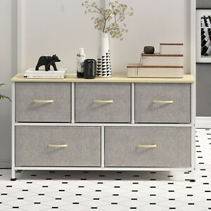 5 Drawers Modern Dresser Chest of Drawers Contemporary Furniture Wooden Storage
