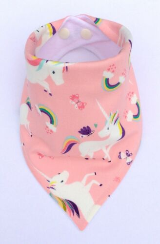 Pink Unicorns My Little Owl Baby Girls Handmade Bandana Dribble Bib Bibdana