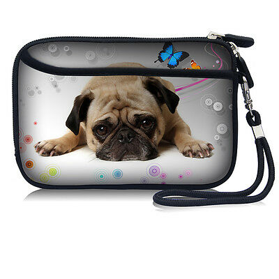 """Cute Pug Bag Sleeve Pouch w/Strap For 2.5"""" HDD Hard Disk Drive"""