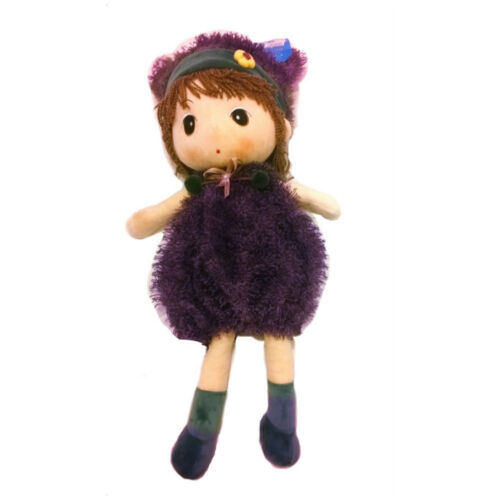 """23.6/"""" Adorable Girl in Purple Fluffy Dress with Head Band Plush Soft Toy Doll"""