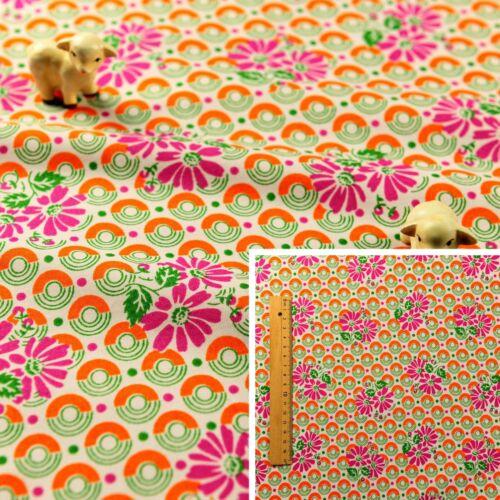PINK ORANGE Fat Quarter//Meter 100/% Cotton Fabric FQ Craft Quilt Sew Retro Floral