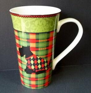 222-Fifth-CHRISTMAS-SCOTTY-ARGYLE-Black-Tartan-Latte-Coffee-Tea-Cup-Mug-16-oz