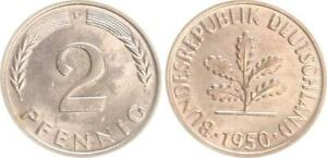 Germany 2 Pfennig 1950 D Seltene Condition: Mint State