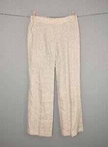 J-CREW-128-Cafe-Trouser-in-Linen-Wide-Leg-Cuffed-Hem-Size-4