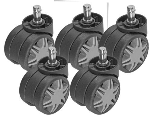 60mm Diameter Black w Gray Spokes 5pc Heavy Duty Chair Caster Twin Wheel 2.38/""