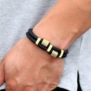 Herren-Leder-Armband-Edelstahl-Magnetverschluss-Schwarz-Silber