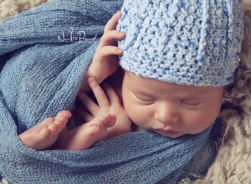 Hand Knitted Crochet Baby Hat Boy Blue Ribbed Beanie Photo Prop Newborn-12m