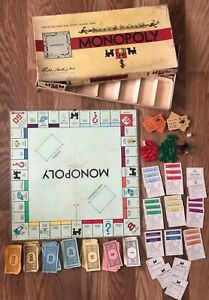Vintage-1946-Monopoly-Parker-Brothers-Board-Game-Wooden-Pieces-IN-BOX