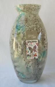Genuine Italian Art Glass Vase Franco Italy Gray Turquoise Color No 487