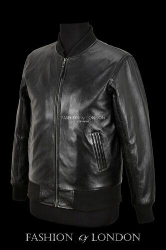 Hommes Bomber Veste en Cuir Cuir d/'Agneau Noir Rétro Classique Mode Motard Veste