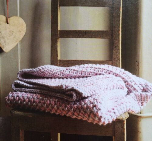 "KNITTING PATTERN Super Chunky Knitted Throw// 38 X 50.5/"" BK3"