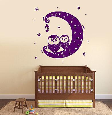 Wall Vinyl Decal Nursery Moon Night Sars Owl Birds Lantern Amazing Decor z3783